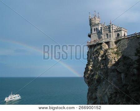 Crimea, Yalta.  Black Sea With A View Of The Castle