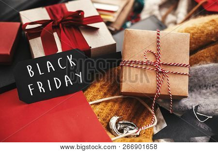 Black Friday Big Sale Text Sign. Special Discount Christmas Offer. Advertising Message At Gift Boxes