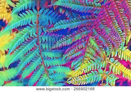 Summer Forest Fern Leaf Closeup. Forest Floor Psychedelic Digital Illustration. Multicolored Fern Le