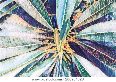 Faded Leafy Tropical Plant Closeup. Decorative Palm Tree Faded Digital Illustration. Green Leaves Na