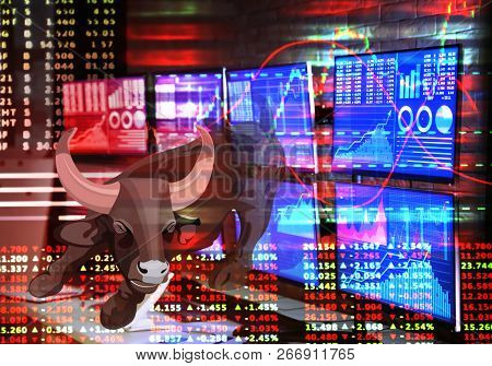 Double exposure of bull as symbol of stock market, broker's workplace and graphs with rates. Financial trading concept