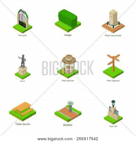 Parkland Statue Icons Set. Isometric Set Of 9 Parkland Statue Vector Icons For Web Isolated On White