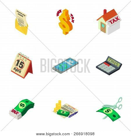 Financial Position Icons Set. Isometric Set Of 9 Financial Position Vector Icons For Web Isolated On