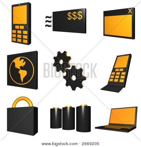 Telco mobile industry icon and symbol set series - Black Orange poster