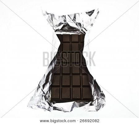 chocolate on a foil on a white background is isolated
