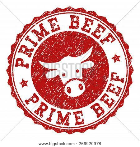 Prime Beef Stamp Seal With Grunged Texture. Designed With Cow Head Symbol. Red Vector Rubber Stamp W
