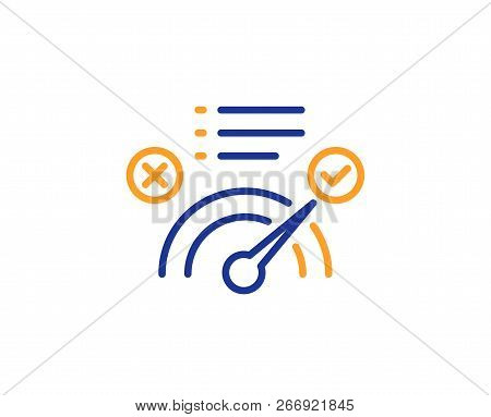 Correct Answer Line Icon. Accepted Or Confirmed Sign. Approved Symbol. Colorful Outline Concept. Blu