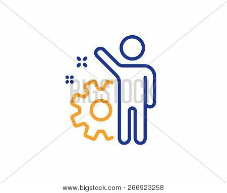 Employee Line Icon. Business Management Sign. Work Or Gear Symbol. Colorful Outline Concept. Blue An