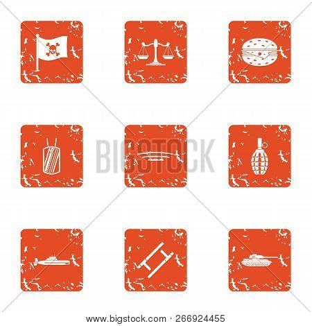 Pirate Law Icons Set. Grunge Set Of 9 Pirate Law Vector Icons For Web Isolated On White Background