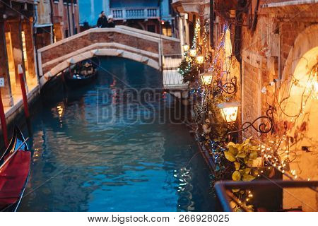 Venice Canal Late At Night With Street Light Illuminating