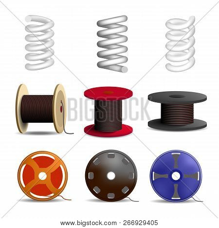 Coil Spring Icon Set. Realistic Set Of Coil Spring Vector Icons For Web Design Isolated On White Bac