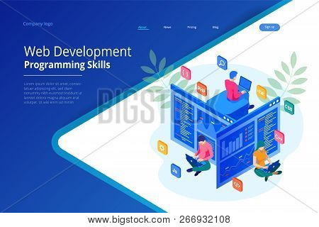 Isometric Programmer Coding New Project. Web Development And Programming Skills For Website. Web Ban