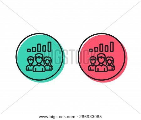 Teamwork Results Line Icon. Group Of People Sign. Positive And Negative Circle Buttons Concept. Good