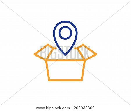 Package Tracking Line Icon. Delivery Monitoring Sign. Shipping Box Location Symbol. Colorful Outline