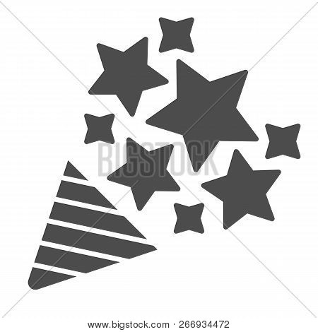 Firecracker Solid Icon. Confetti Popper Vector Illustration Isolated On White. Party Popper Glyph St