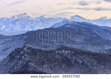 Beautiful Scenic Winter Mountain Landscape Of Lagonaki Mountain Region With Snowy Range Of Mountain