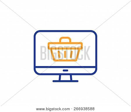 Online Shopping Cart Line Icon. Monitor Sign. Supermarket Basket Symbol. Colorful Outline Concept. B