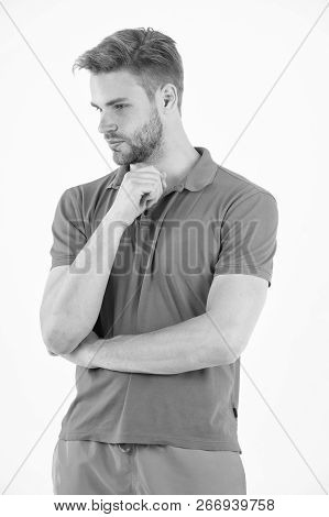 Serious About Staying In Shape. Man Sporty Outfit Looks Serious And Motivated For Training, White Ba