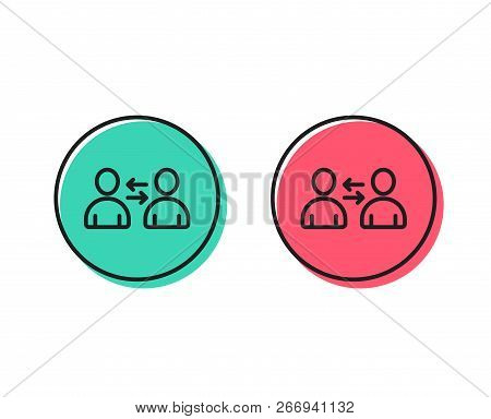 Teamwork Line Icon. User Communication. Profile Avatar Sign. Person Silhouette Symbol. Positive And