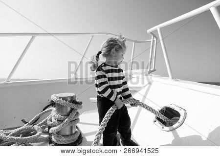 Lets Travel Around World. Baby Boy Enjoy Vacation Cruise Ship.boy Adorable Sailor Shirt Yacht Travel