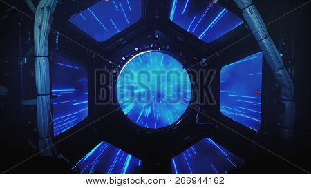 Abstract hyper jump in outer space on a spaceship view from the window 3d illustration. poster