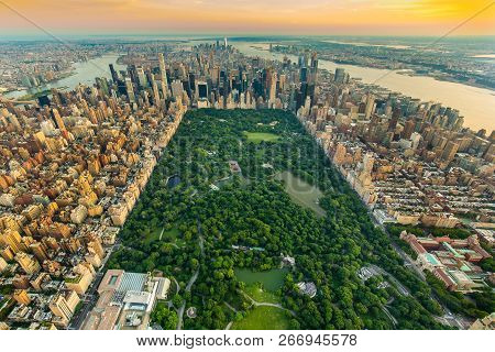 New York Central Park Aerial View In Summer