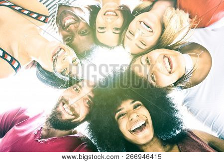 Multicultural Best Friends Millenials Taking Selfie With Back Lighting - Happy Youth Friendship Conc
