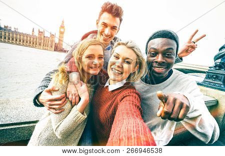 Happy Multiracial Friends Group Taking Selfie In London At European Trip - Young People Addicted By