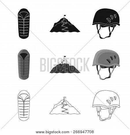 Vector Illustration Of Mountaineering And Peak Icon. Set Of Mountaineering And Camp Vector Icon For