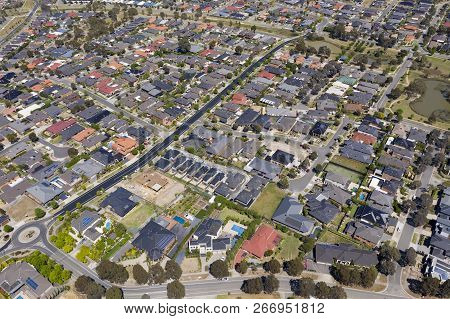 Aerial Photo Of Houses In A Suburb In Melbourne, Australia