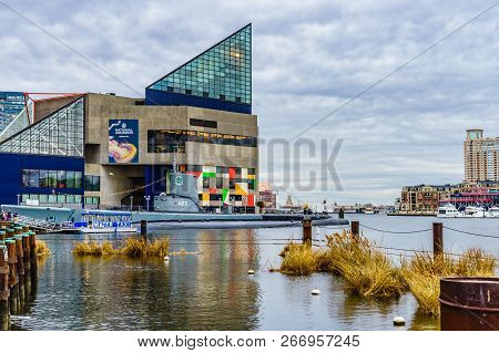 Baltimore, Md, Usa December 18, 2016 National Aquarium In Baltimore Stand Out In The Inner Harbor Ar