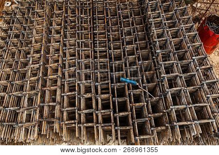 Grids From Fittings For Monolithic Construction Of Houses. Construction Site, Construction Of Houses