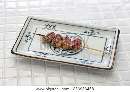 yakitori, chicken heart, japanese grilled chicken skewers