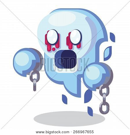 Fantasy RPG Game Character monsters and heros Icons Illustration. Enemy undead, banshee, ghost, spirit, wraith with shackles poster