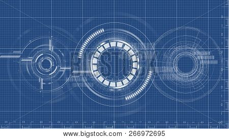 Technological Blueprint Technical Drawing Background Vector Design