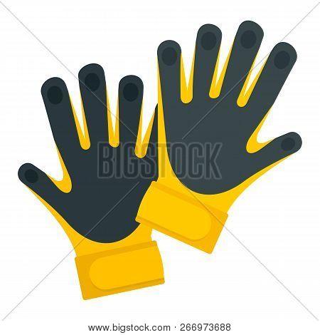 Goal Keeper Gloves Icon. Flat Illustration Of Goal Keeper Gloves Vector Icon For Web Design