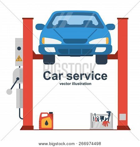Car Liffting. Vehicle Repair Icon. Sign Of Service Maintenance Transport. Vector Illustration Flat D