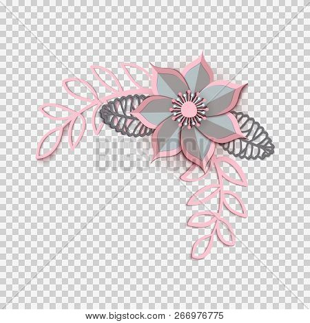 Paper Cut Design With Flower Composition. Beautiful Angle Background With Fantasy Floral Decorations