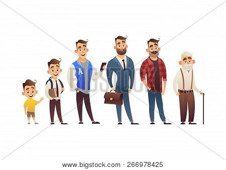 Character Of Man In Different Ages Child Teenager Adult Elderly Person Life Cycle Generation Of Peop