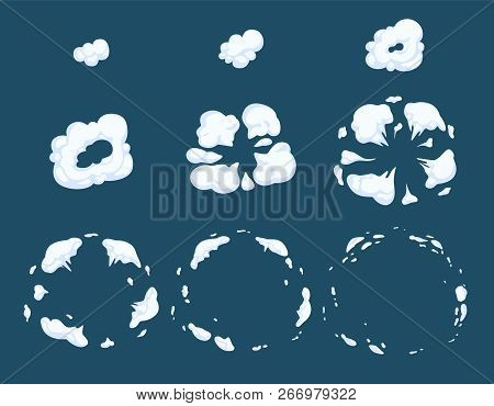 Explode Animation. Smoke Steam Dust Or Smoke Bomb Exploding Cartoon Vector Effects. Smoke Explosion,
