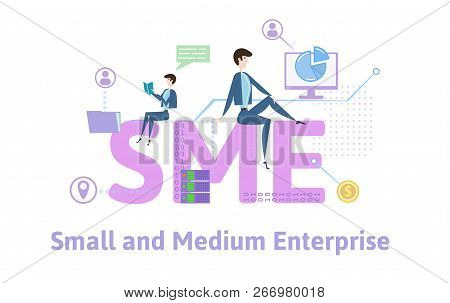 Sme, Small And Medium Enterprise. Concept Table With People, Letters And Icons. Colored Flat Vector