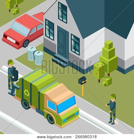 Garbage Truck. Cleaning Service Removing Trash From City Street Waste Recycling Concept Vector Isome