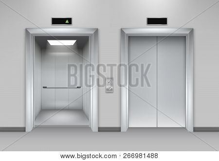 Lift Doors Building. Business Office Facade Interior Realistic Closing Opening Doors Elevator Chrome