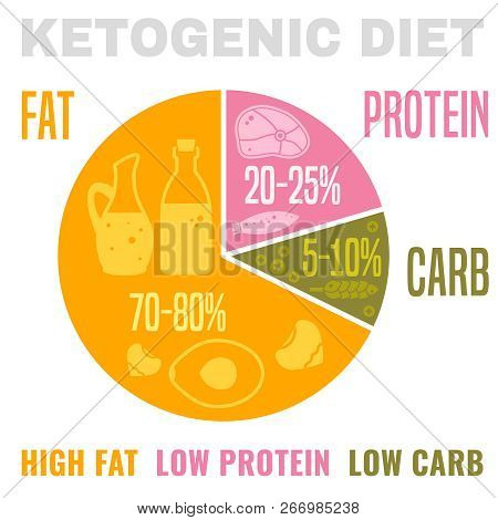 Low Carbohydrate High Fat Ketogenic Diet Poster. Colourful Vector Illustration Isolated On A Light B