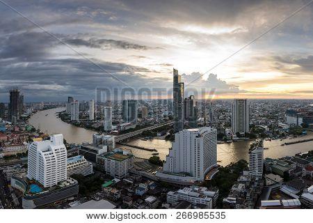 Bangkok City - Beautiful Sunset Curve Chao Phraya River Panoramic Cityscape Urban  Of Bangkok City A