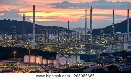 Beautiful Sunset  Petrochemical Oil Refinery Factory Plant Cityscape Of Chonburi Province At Night