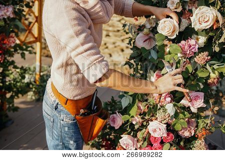 Woman Florist With Shears In Her Hands Near The Arch With Autumn Flowers, Works.