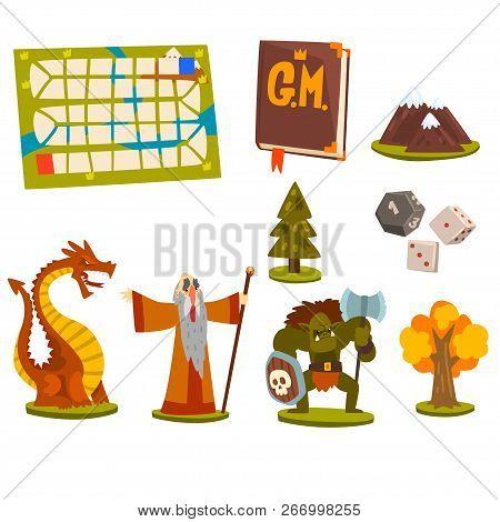 Magic Board Game Elements Set, Fantastic Fairytale Characters, Landscape Elements, Board Game Map Ve