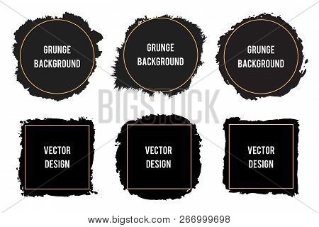 Black Ink Brush Stain Frames,brush Strokes, Banners, Borders. Textured Design Element For Text. Blan