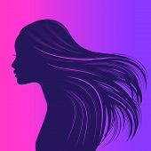 Beautiful girl with long thick wavy hair. Beauty salon icon. Vector illustration poster
